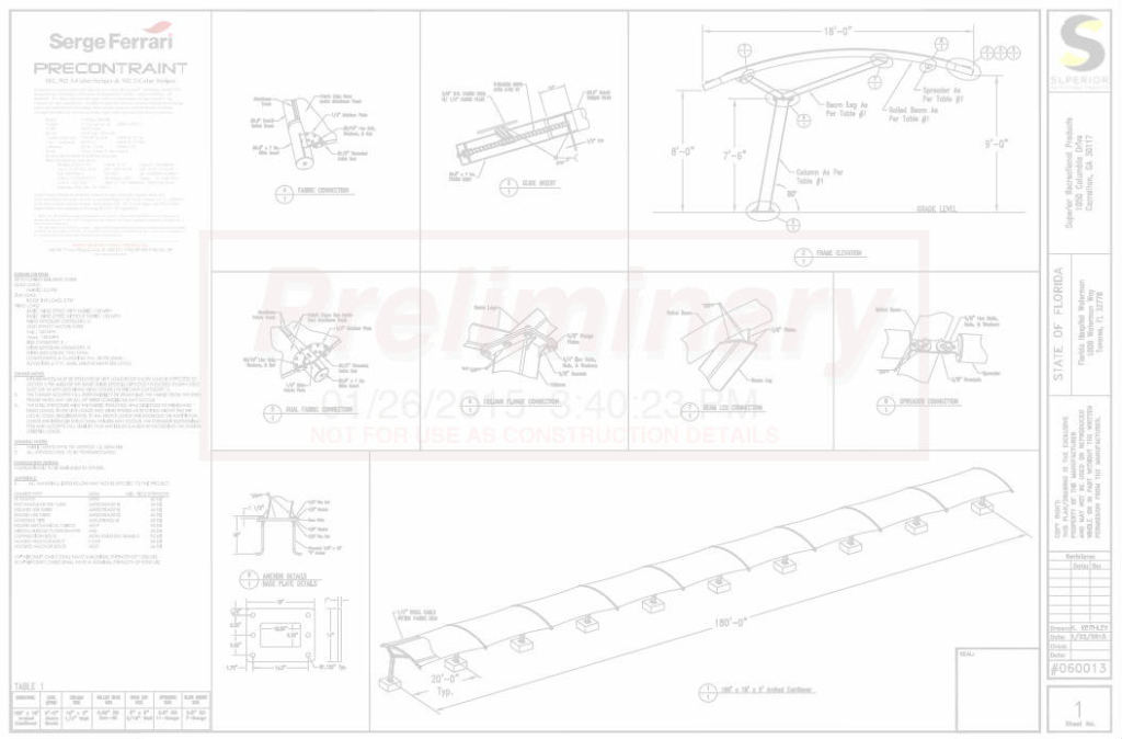 Waterman SkySpan Shade Drawings